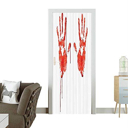 (Homesonne 3D Door Decals Hand Like Wanting Help Halloween Horror Scary Spooky Flowing Blood Themed Self Adhesive Door DecalW36 x H79)