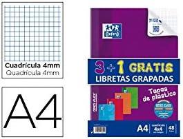 LIBRETA ESCOLAR OXFORD TAPA FLEXIBLES OPTIK PAPER 48 HOJAS DIN A4 CUADROS 4 MM PACK DE 3 + 1: Amazon.es: Oficina y papelería