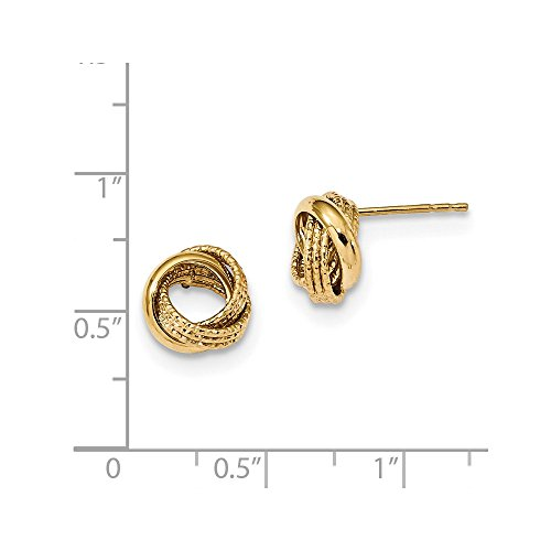 14kt Yellow Gold Textured Love Knot Post Earrings by Perfume4All (Image #1)