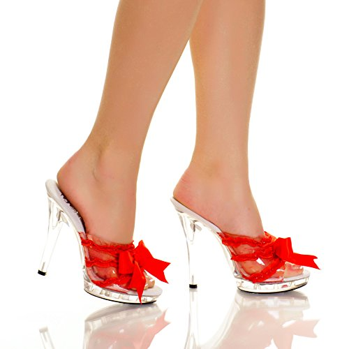 "Highest Heel QUEST-101 Women's 5"" Platform Mule With Satin Bow And Lace Vamp - RED SATIN - 7 from The Highest Heel Enterprises LLC"