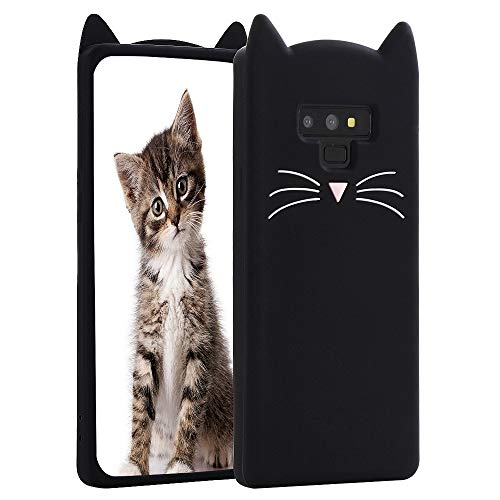 Galaxy Note 9 Case, Miniko(TM) Fashion Cute Kawaii Funny 3D Black Meow Party Cat Kitty Whiskers Dropproof Protective Soft Rubber Case Skin for Samsung Galaxy Note 9 2018