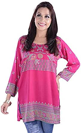ClickonStyle Pink Casual Kurta & Kurtis For Women