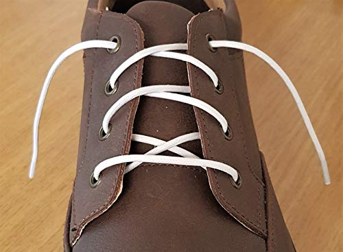 Thin Round White Waxed Cotton Shoelaces - 18'' / 45 cm length - Thin laces for dress shoes and boots. by Fabmania (Image #1)