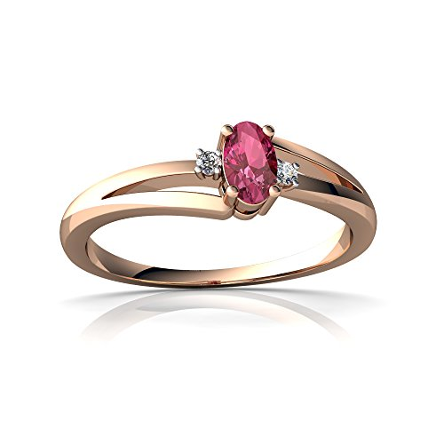 14kt Rose Gold Pink Tourmaline and Diamond 5x3mm Oval Sweet and Petite Ring - Size 9
