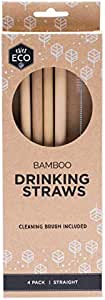 Ever Eco Reusable Bamboo Drinking 4 Pack Straight Straws + Cleaning Brush