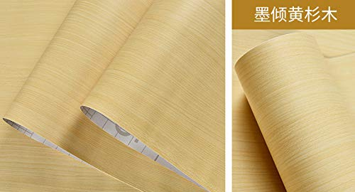 Junewind Wood Grain Wallpaper Wallpaper Self-Adhesive Wardrobe Living Room Wall Table Cabinet Cabinet Door Stickers - Yellow Shirt Wood (0.4510M)
