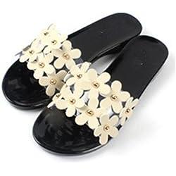 Women Sandals , Amiley Summer Women Beach Shoes Flower Flat Sandals Slip Resistant Slippers Slip On Sandal (39, Black)