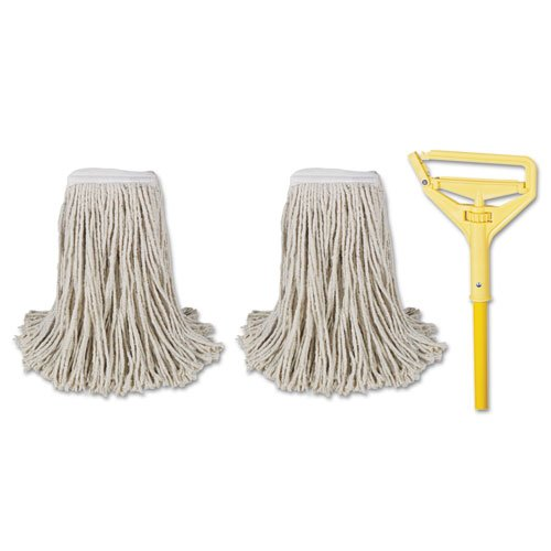 Boardwalk 5324C Cotton Cut End Mop Kit, Natural - 60 in.