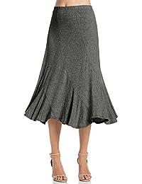 Womens Elastic Waist A-Line Ruffle Skirt (S-XXXL)