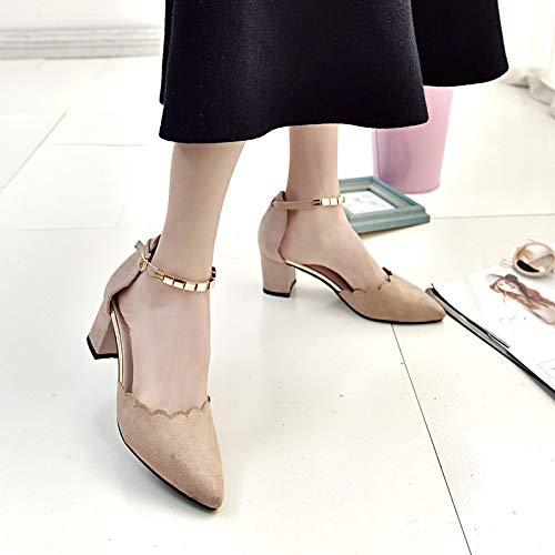 Metal Yukun Hebilla De Mujeres Lateral zapatos de tacón Altos De Beige Las Jengibre Mujeres Patrón De Las Zapatos Solteras alto Tacones De rarZqwxAO