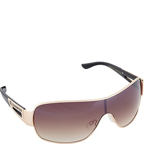 Logo Metal Aviator Shield Sunglasses (Southpole Men's 893SP GLDBK Aviator Sunglasses, Gold & Black, 153 mm)