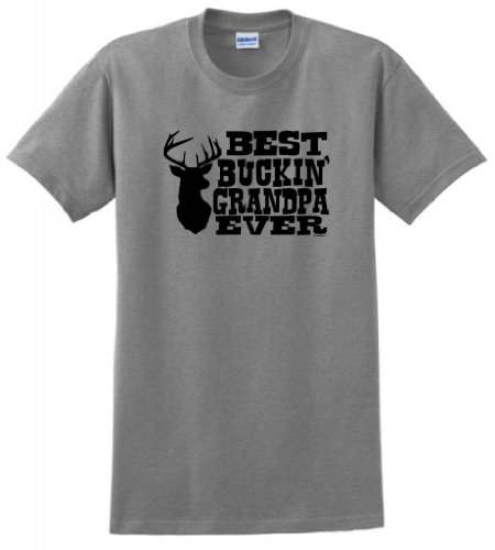 Best Buckin' Grandpa Ever T-Shirt Large Sport Grey ()