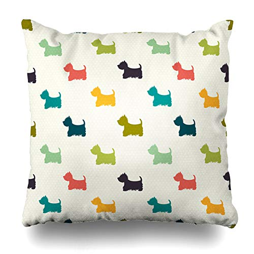 - Ahawoso Throw Pillow Cover Green Puppy Dog On Polka Dot West Cute Highland Terrier Wildlife Pattern Paw Design Decor Zippered Cushion Case 18