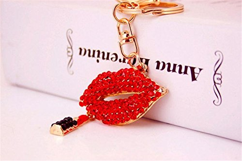 Romantic Sexy Charming Lipstick Lips Shaped Crystal Rhinestone Keychain Key Chain Key Ring Charm Phone Purse Car Bag Pendant Decoration Ornament (Red)