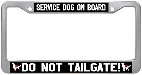 SERVICE DOG ON BOARD  dog License Plate Frame