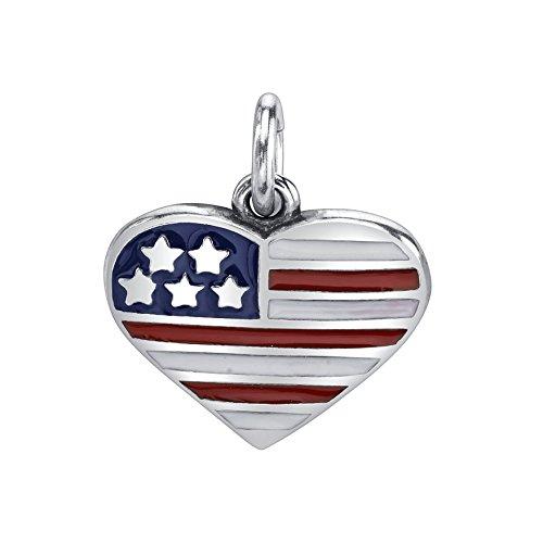 Raposa Elegance Sterling Silver Red White Blue Enameled USA Flag Heart Charm Pendant (12 x 13 mm)