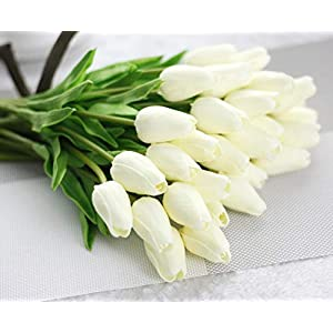 JOEJISN 30pcs Artificial Flowers Real Touch Tulips Holland PU Tulip Bouquet Latex Flower White Tulip for Party Office Home Kitchen Decoration (Pure White) 119