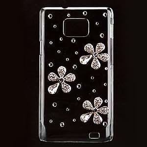 Elegant Flower Pattern Hard Case with Rhinestone for Samsung Galaxy S2 I9100
