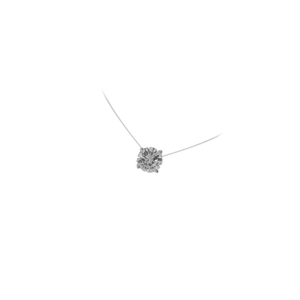 Collier Fil Nylon Pendentif en Argent 925/000 Rhodié et Oxyde de Zirconium Forme Ronde Solitaire Cercle - 7 mm - Offert avec son sachet Cadeau Velours aux couleurs de TATA GISELE 51CA2262F-7