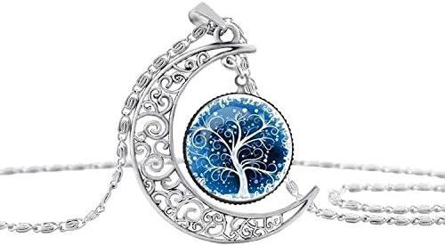 Doyime Collier lune creuse pendentif arbre vie bijou temps