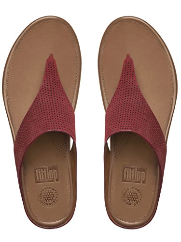 FitFlop Women's Banda Perf Nubuck Toe-Thong Sandals, Dusty Red, 7 ()