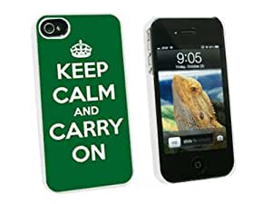 Graphics and More Keep Calm and Carry On Green - Snap On Hard Protective Case for Apple iPhone 4 4S - White - Carrying Case - Non-Retail Packaging - White
