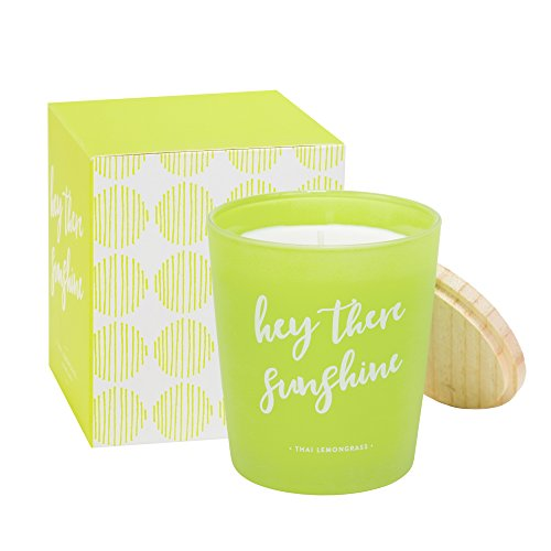 (Eccolo Thai Lemongrass Scented Candle, Hey There Sunshine Quote, Matching Gift Box - Made in Spain 7.5 Oz)