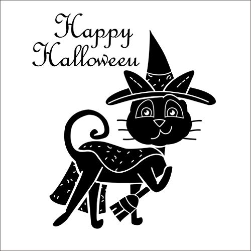 Boodecal Happy Halloween Wall Sticker Magic Black Cat Vinyl Home Decor Shop Window Decals Baby Room Wall Art Decoration Murals Pub Bar Indoor Scene Setter 19 x 22 Inch ()