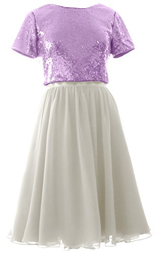 Sequin Cap Sleeves Formal Two Ivory Gown Bridesmaid MACloth Piece Chiffon Short Dress Lavender 60qqBAW