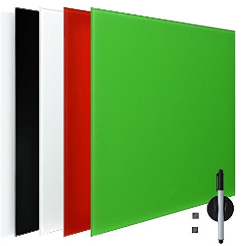 Memo-Board aus Glas Magnet- und Schreibtafel grün 45x60 cm - inklusive Stift und Magneten - viele Farben & Größen