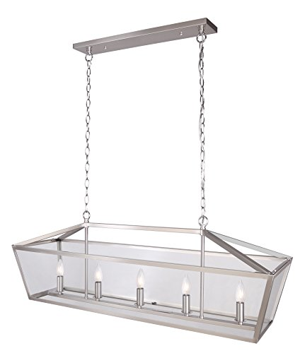 Nickel Rectangular Chandelier (ICH Canarm Kellen 5 Light Chain Chandelier with Clear Glass - Brushed Nickel)
