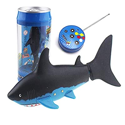 eMart Mini Remote Control Toy Electric RC Fish Boat Shark Swim in Water for Kids Gift - Black: Toys & Games