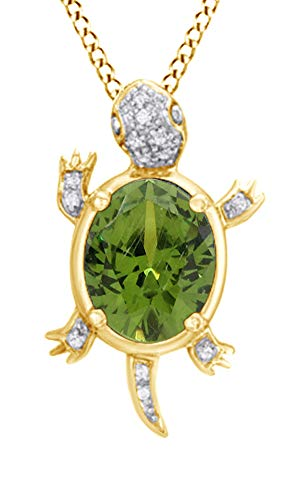 Jewel Zone US Simulated Peridot Gemstone & Natural White Diamond Turtle Pendant Necklace in Sterling Silver