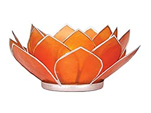 Luna Bazaar 3-Layer Capiz Lotus Candle Holder (2.25-Inch, Nani Design, Mango Orange , Silver-Edged) - For Use with Tea Lights - For Home Decor, Parties, and Wedding Decorations