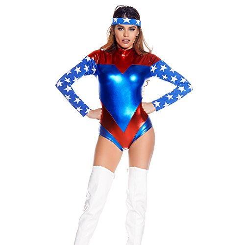 Sexy Superheroes (Forplay Women's The American Dream, Royal Blue, Small/Medium)