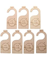 YiYLunneo 7 Pieces Premium Wood Baby Closet Dividers,from Newborn to 24 Months,Baby Closet Organizers Hanging for Any Nursery Decor