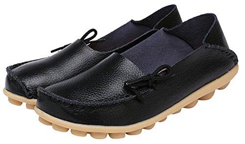 Zapatillas de cuero de las mujeres calzan el deslizamiento ocasional plano en la zapatilla de deporte de los mocasines de conducción Negro