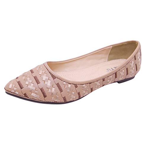 Women's Bohemian Shallow Mouth Single Shoes Basic Closed Pointed Toe Slip On Shoe Comfortable Flat Ladies Lazy Shoes Beige (Patent Sandals Guess Leather)
