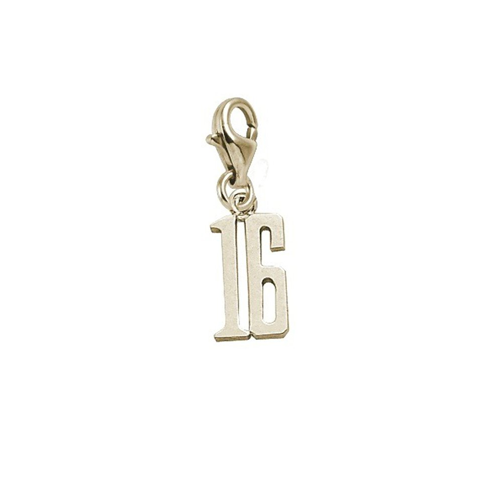Charms for Bracelets and Necklaces 10k Yellow Gold Number 16 Charm With Lobster Claw Clasp