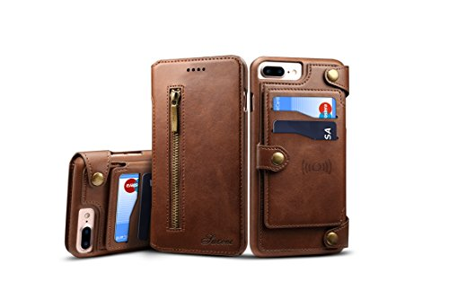 - IPhone7/8 plus case EXTREE Leather multi-function zipper Clamshell combo Split magnetic buckle card for IPhone case (brown)