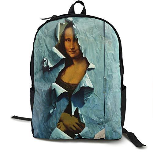 Hidden Mona Lisa Print Backpacks Water Resistant College School Computer Backpack For Women And Girls School Shoulder Rucksack Casual Travel - Dinner Lisa