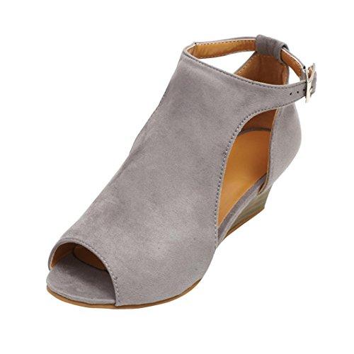 UOKNICE SANDALS Women Fashion Platform Wedge Heel Sandals Peep Toe Ankle-Wrap Buckle Shoes(Gray, CN42(US 8.5)) ()