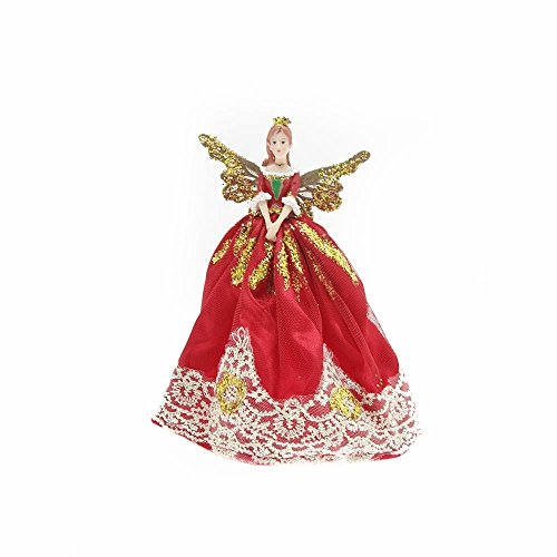 Fairy Tree Skirt - Gisela Graham Red And Gold Christmas Fairy Topper