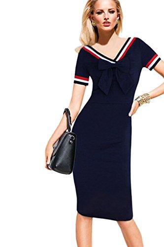 Damen elegante Kurzarm figurbetontes Kleid mit Bowknot Green bKzEAL