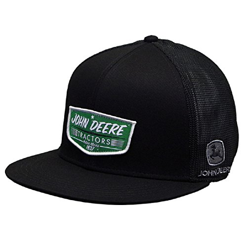 John Deere Brand Black Tractor Logo Stretch Fit Hat