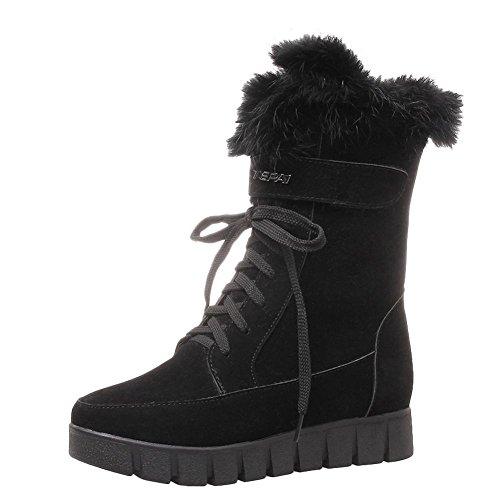Carolbar Donna Allacciata Comfort Faux Fur Caldo Inverno Neve Stivali Neri