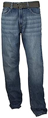 Calvin Klein Men's Relaxed Straight Belted Jeans