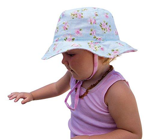 Primrose Girls Sun Hat Vintage Bucket Beach Hat-Reversible Cotton UPF50+ (0-12 Months(44 cm)) (12-24 Months(48 cm) (Pink)