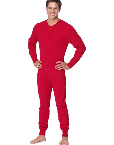 Union Suit Duofold - Hanes X-Temp Men`s Thermal Union Suit, 14530, S, Red