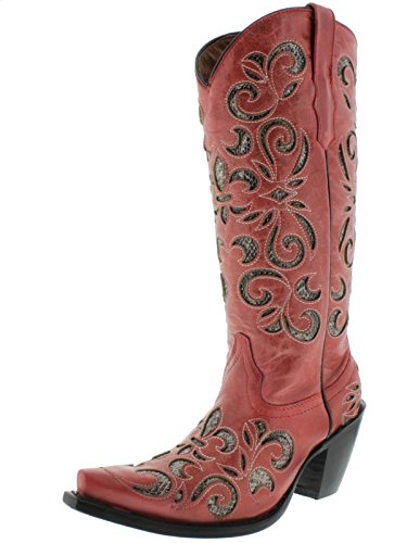 Cowboy Professional Womens Red Python Flower Inlay Leather Cowboy Boots Red tLhxkTB